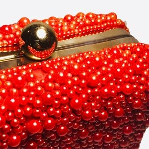 Beaded Clutch Hard Side Pearls Bright Orange Gold